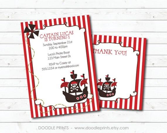 Printable PIRATE Birthday Party Invitation & Thank You Card, Customized Printable Invitation, Yo Ho Ho Pirate Invitation Design 4x6 or 5x7
