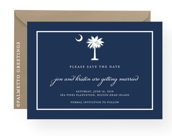Custom South Carolina Palmetto Moon Wedding Save the Date Cards
