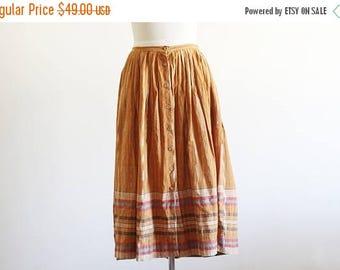 """25% OFF Vintage Madras Cotton High Waisted Skirt / 28"""" Waist / Hippie Boho / Midi Skirt / Full Skirt"""