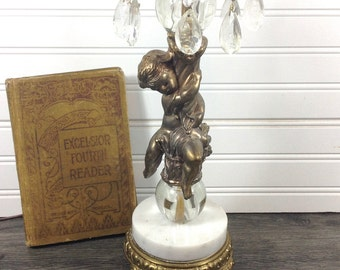 Vintage Cherub Lamp With Crystals-Cherub Table Lamp-Cherub Lamp-Tyndale Cherub Lamp