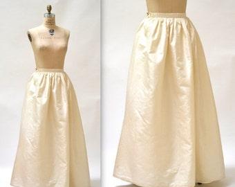 15% OFF SALE Vintage Cream Ball Gown Skirt size Small Silk // Vintage Wedding Skirt Cream White Silk Crinoline Skirt Size Small