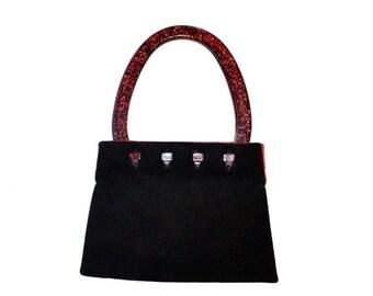 Sale 15% off 90s Vintage Black Leather Purse Handbag Evening Bag with Red Glitter Handles// Vintage Black Suede Handbag Bag with Red Metalli