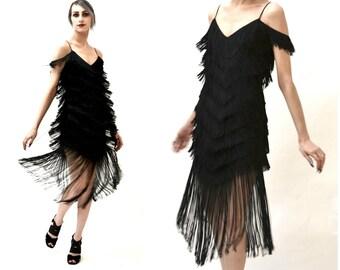 Vintage Black Flapper Fringe Dress Size Small// Vintage 70s does 20s Black Fringe Party Dress Size Small by TD4