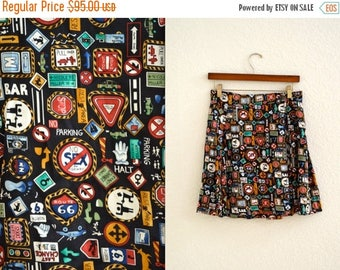 ON SALE 90s Vintage Silk Tennis Vintage Silk Wrap Skirt by Nicole Miller with Road Street Signs//  Vintage Pleated Skirt in Silk with Traffi