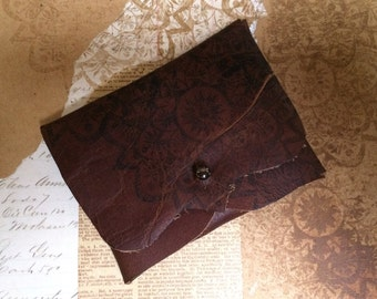 Leather Business/Debit Card Wallet or Just a Cute Pouch. Mandala Pattern. Conker Brown. Gunmetal Coloured Rivet Closure. Eco Friendly.