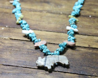 """Turquoise Chunk Necklace Silk Knot With Fetish Animal Pendants Bison Buffalo Hand Carved 20"""" Turquoise Necklace Turquoise Natural Turquosie"""