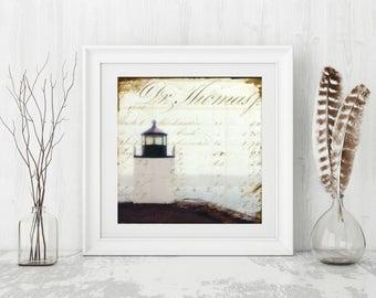 "Lighthouse Print: Mixed Media Photography, Derby Wharf Lighthouse Art, Salem MA, Massachusetts art, 8""x8"" or 12""x12"" print, ""Lighthouse II"""