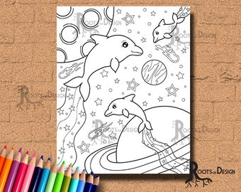 INSTANT DOWNLOAD Space Dolphins Page Print, doodle art, printable