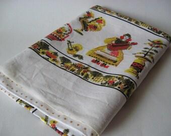 NOS vintage Penn Dutch vibe linen mid century tablecloth green gold orange palette roosters farm theme