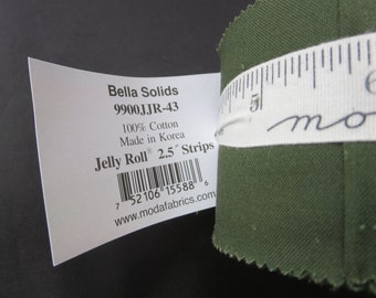 INTODUCTORY PRICE - Bella Solids Junior Jelly Roll - Green 9900JJR-43 - Moda Pine