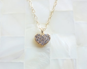 Petite Gold CZ Pave Heart Pendant on Gold Chain Necklace (N1760)