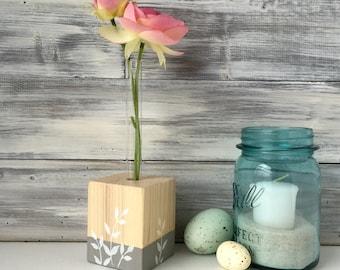 Test Tube Vase, Flower vase, unique gift, wood, botanical design in grey and white, small gift