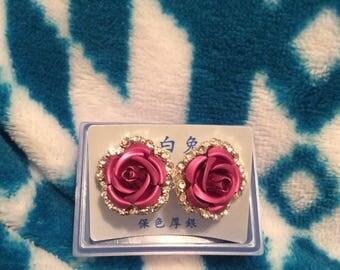 Clear crystal/pink rose earrings pierced vtg new