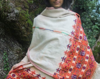 Traditional Kinauri shawl ~ unique traditional piece ~ handwoven natural dye ~ antique traditional shawl