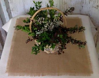 Burlap Table Square Rustic Wedding 24x24, 30x30 or 36x36 Shabby Chic Table Decor