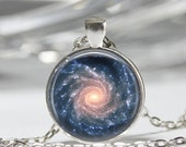 ON SALE Spiral Galaxy Necklace Outer Space Milky Way Astronomy Nebula Art Pendant in Bronze or Silver with Link Chain Included