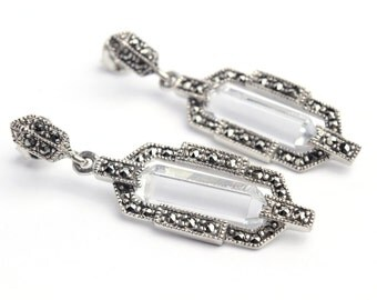Sterling Silver 925 Marcasite Earrings with Rock Crystal Center