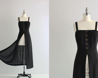 1990s 90s Overdress . Black Maxi Dress . Nineties Split Front Dress