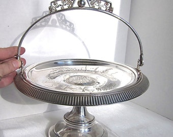 Silver Bridal Basket Antique Cake Plate Wedding Shower 1800s