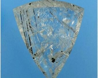 Tourmalated Quartz Faceted Cabochon, Tourmalated Quartz, Tourmaline Crystals, Hand Cut Cabochon, Pendant Cab, Gift Cab, B1663, 49erMinerals