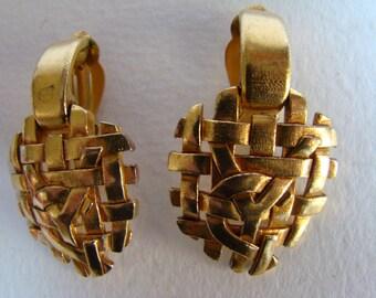 Yves Saint Laurent heart pendant earrings