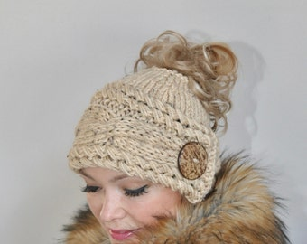 Messy Bun Hat Ponytail Hat Messy Bun Beanie CHOOSE COLOR Oatmeal Beige Cabled Beanie Ponytail Beanie Hat Beanie with hole Mom Life Hat Gift
