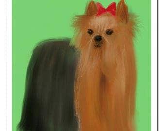 Yorkie Terrier Dog Illustration-Pop Art Print