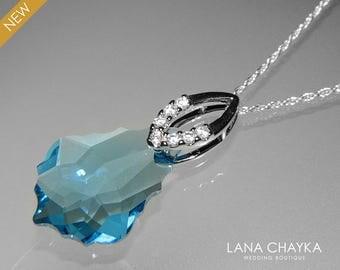 Aquamarine Crystal Necklace Swarovski Aquamarine Baroque Pendant Aqua Blue Silver Necklace Birthstone Necklace Bridal Blue CVrystal Jewelry