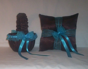 Chocolate Brown Satin With Turquoise Blue Ribbon Trim Flower Girl Basket And Ring Bearer Pillow Set 1