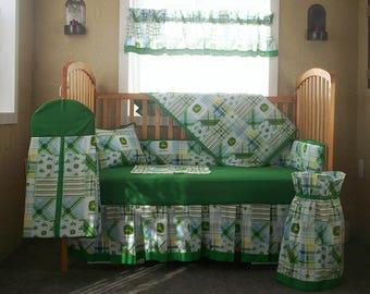 10 Piece John Deere Green Patchwork Plaid Baby Quilt Set, Nursery Set  2