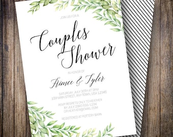 Greenery Couples Shower, Rustic Couples Shower Invite, Watercolor Couples Shower, Boho Wedding Shower, Minimalist, Green, Black, 902
