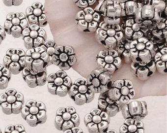 Daisy Metal Beads Metal Flower Beads Silver Flower Beads 5mm Beads Wholesale Beads Spacer Beads 20 pieces