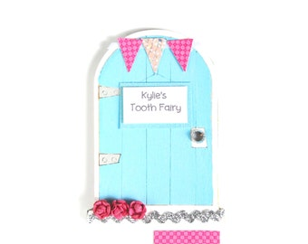 Tooth Fairy Door Girls Tooth Fairy Gift Personalized Tooth Fairy Garden Door Tooth Fairy Gift for Girls in Pink and Blue