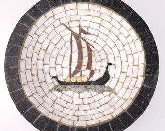 Vintage Heide Mosaic Denmark Viking Norseman Ship Stone Inlaid Ashtray or Bowl