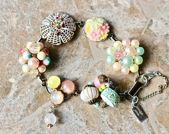 Bridesmaid Gift, Vintage Earring Bracelet, Multicolor, Pink, Aqua, Yellow, Green, Pastel, Upcycled, Under 40, Cluster, Jennifer Jones,  OOAK