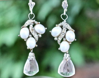 Vintage Wedding Earrings, Upcycled Pierced, Silver Bridal Earrings, Special Occasion, Long Dangle Teardrop Jennifer Jones OOAK Statement