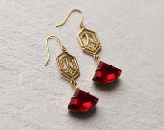 Art Deco Earrings ... Ruby Red Garnet Art Nouveau July January Birthstone