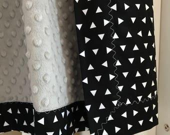 Snuggle Blanket - Scattered Triangles - pram size minky baby blanket