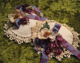 Lavender Sachets // Vintage Linen Coasters w. Tatted Edge // Vintage Millinery Flowers // Vintage Rhinestones // Mothers Day Gift