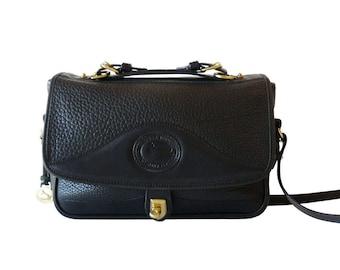 Dooney & Bourke Black Leather Arrowhead Carrier Crossbody Shoulder Bag AWL