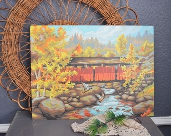Vintage Paint By Number Painting Covered Bridge Ducks Picture Trees Art Frameless Wall Hanging Red Orange Yellow Wildlife Indiana