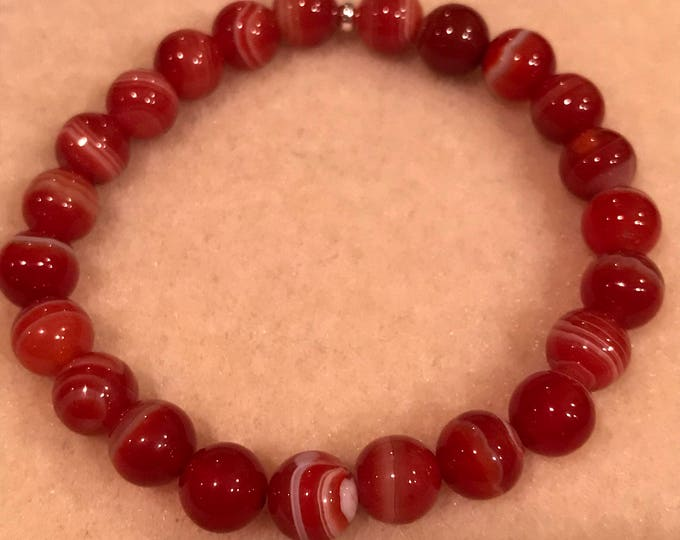 Red Sardonyx 8mm Round Stretch Bead Bracelet with Sterling Silver Accent