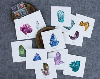 Pack of Letterpress Gemstone Prints