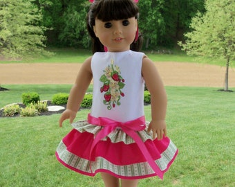 "Strawberry Girl Dress fits  18"" American Girl® Dolls / Doll Clothes for American Girl Dolls"