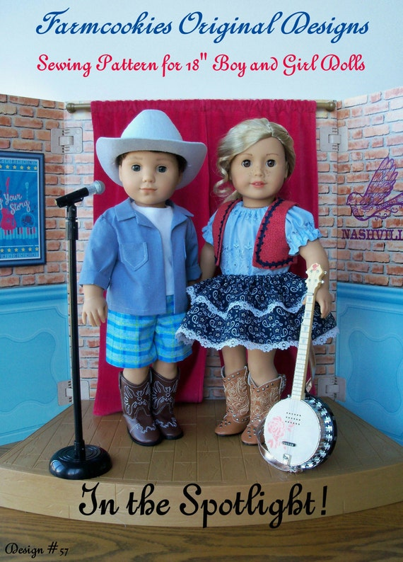 PDF Sewing Pattern / In the Spotlight ! / Country Style Clothes Pattern Fits American Girl Tenny and Logan