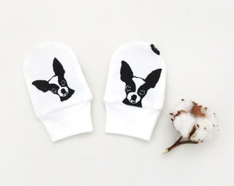Chihuahua Organic Cotton Newborn No Scratch Mittens, Chihuahua Infant Hospital Mittens, Dog Baby Announcement, Gender Neutral Baby Mittens
