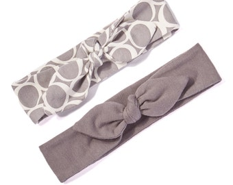 Baby Girl Knotted Headbands - Infant Headband - Jersey Knit Headband in Modern Gray Solid & Circles - Modern Infant Headband Set
