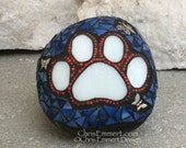 Reserved for Kelly Red, White and Blue Paw, Mosaic, Garden Stone, Pet Memorial, Dog Paw