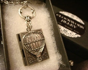 Victorian Style Hot Air Balloon Book Locket Necklace in Antique Silver (2283)
