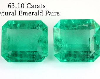 63.10 carats Pair of Colombian Emeralds, Natural Emerald Pair Loose Gemstone, Fine Quality Genuine Emerald Cut Emerald, May Birthstone
